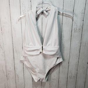 Victoria's Secret White Shimmer Textured Plunge Ha